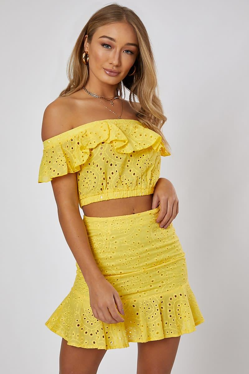 yellow frill detail bardot co-ord crop top