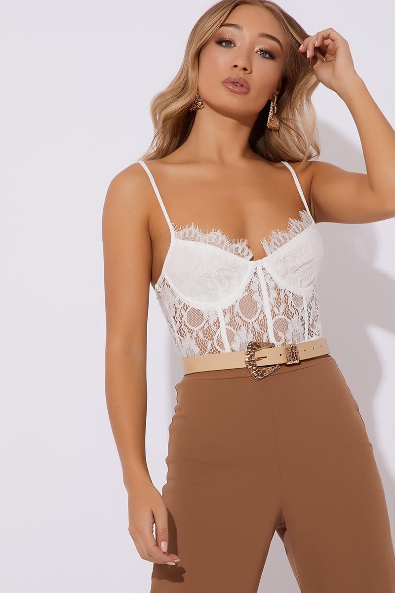 white cami lace bodysuit