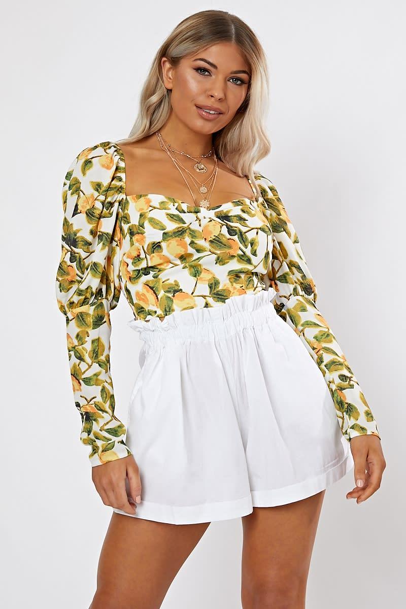 white lemon print puff sleeve crop top co-ord