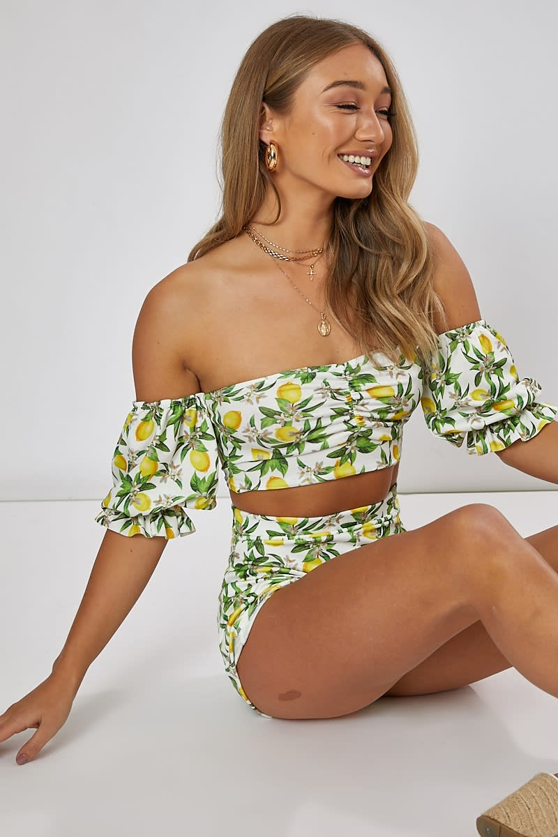 lemon print bardot co-ord crop top