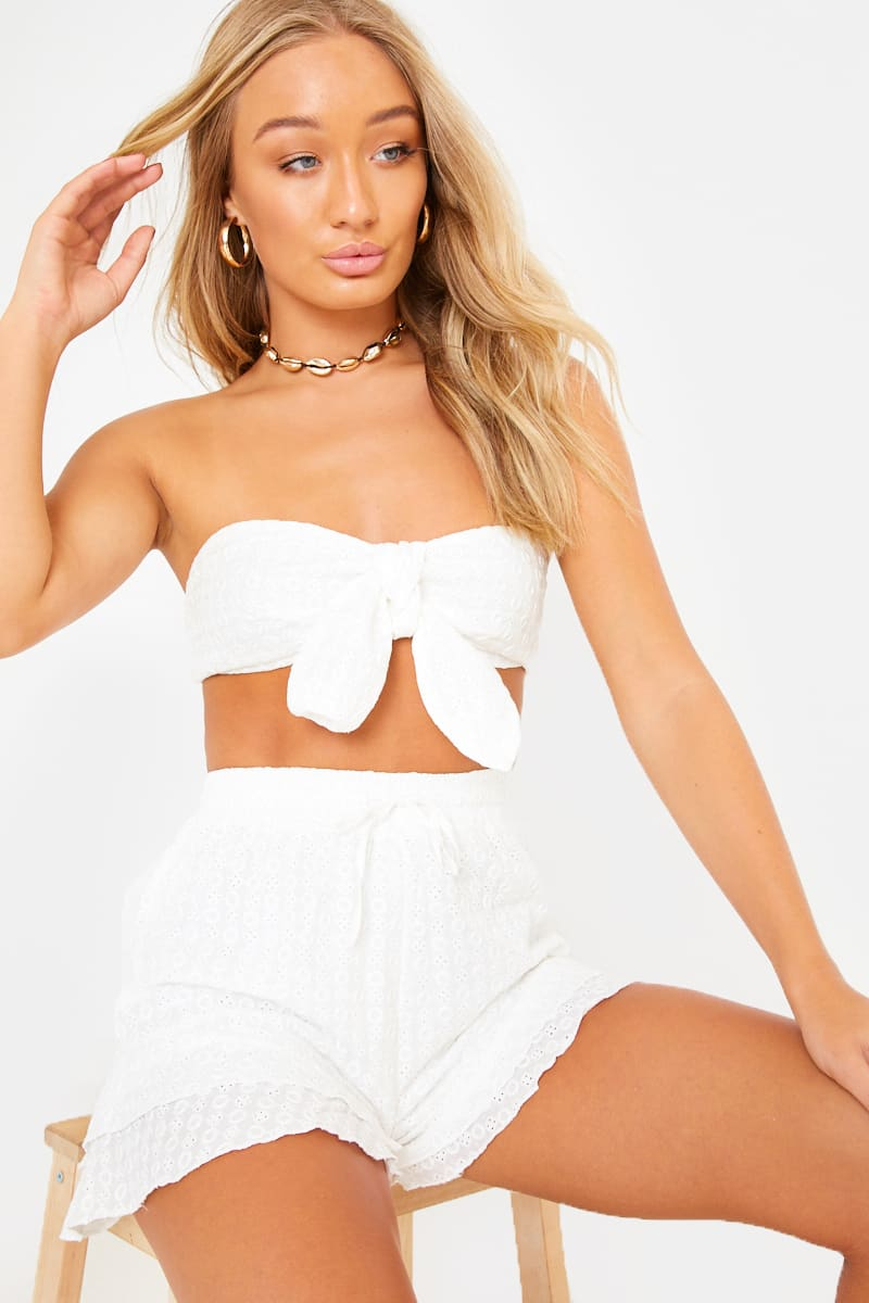 MYTHA WHITE BRODERIE TIE FRONT CO-ORD BANDEAU TOP