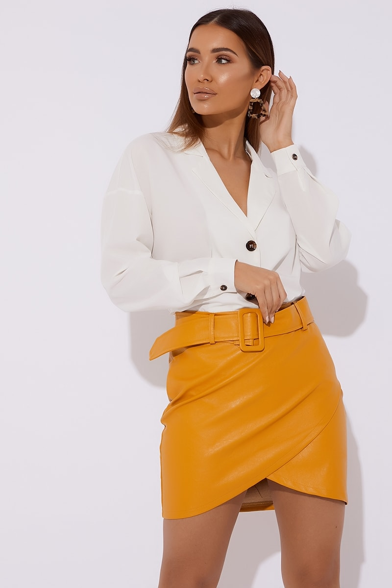 mustard belted faux leather skirt
