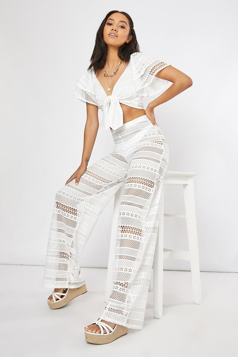 white crochet lace wide leg co-ord trousers