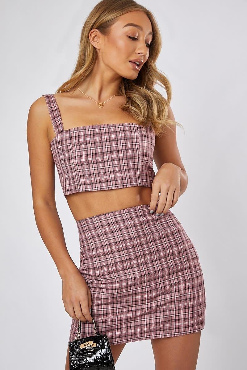 pink check co-ord mini skirt