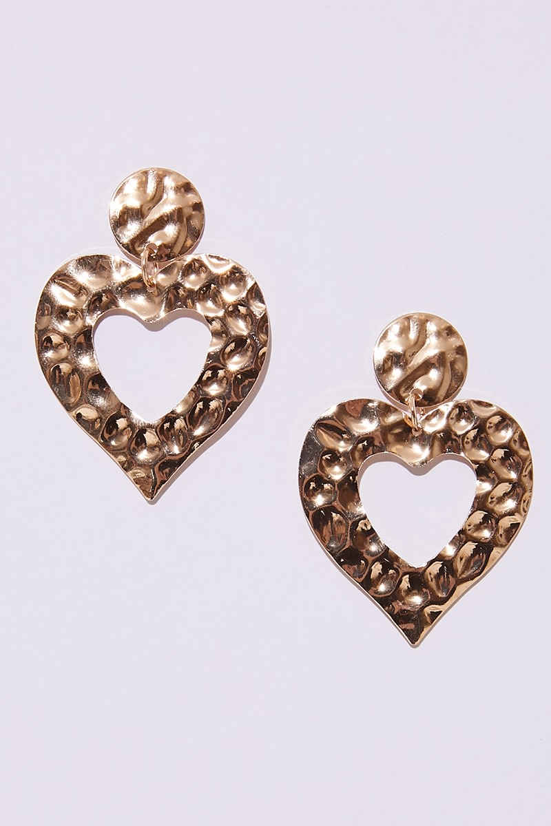 GOLD LARGE TEXTURED HEART EARRINGS