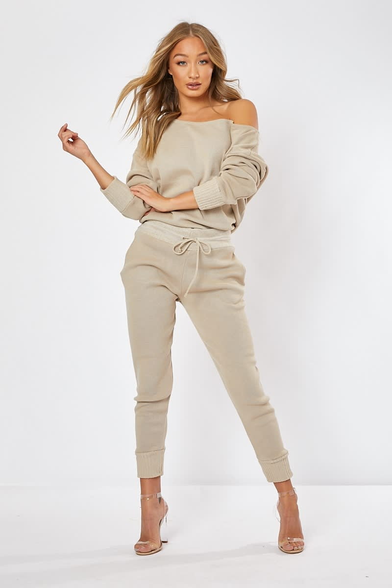 stone knitted co-ord loungewear set