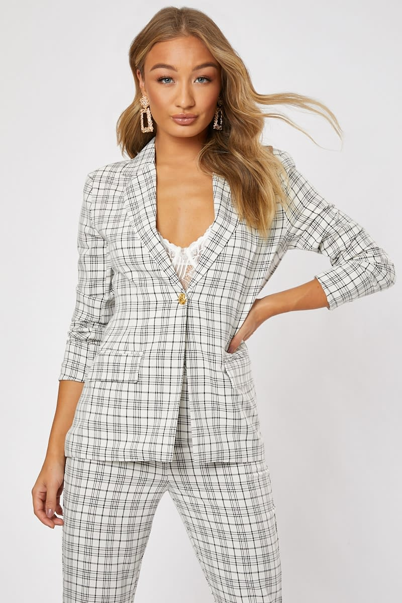 cream check military co-ord blazer