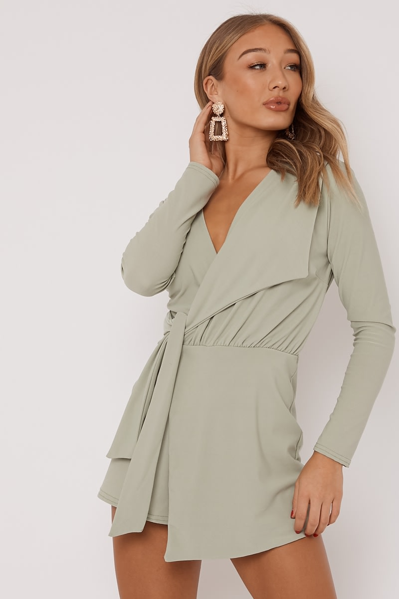 sage plunge wrap over playsuit