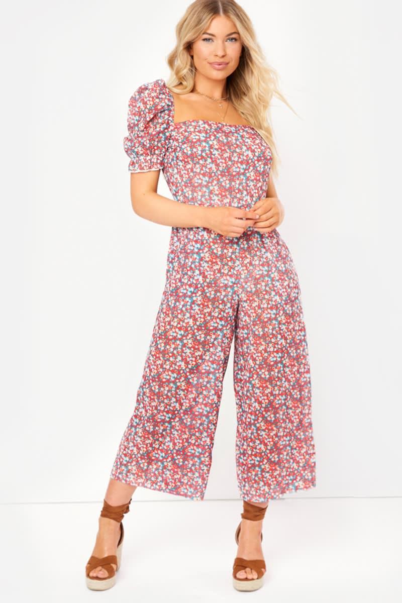 red floral sheer culotte jumpsuit