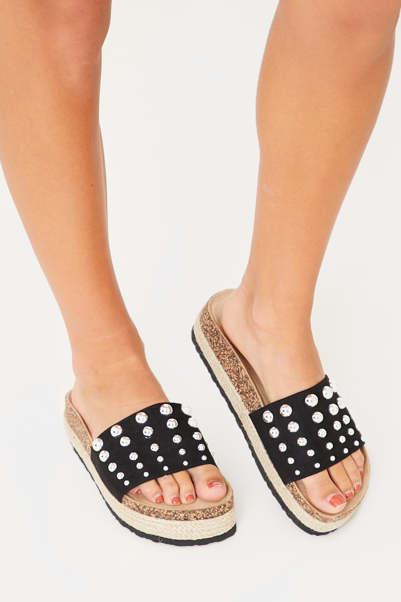 black platform studded sliders