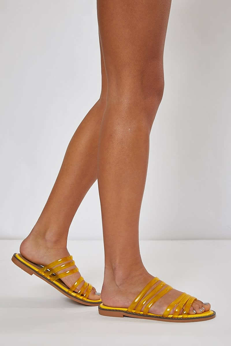 yellow clear double strap sliders