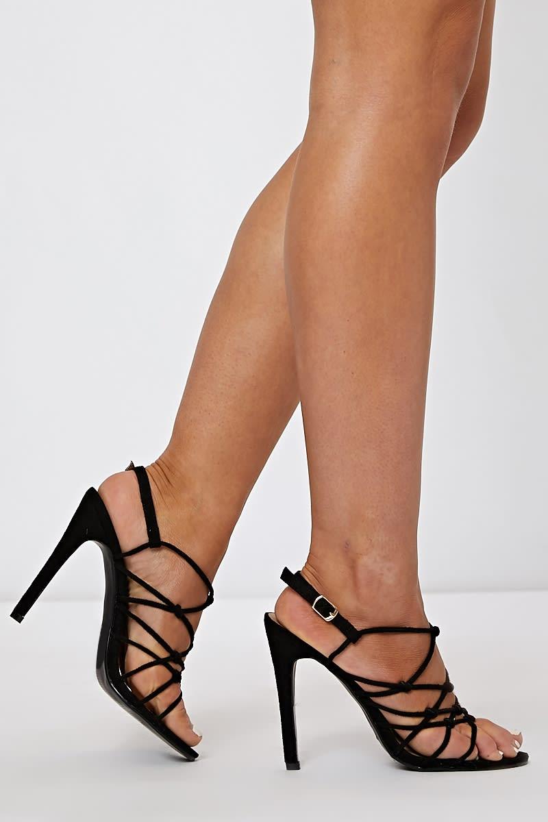 black faux suede strappy heels