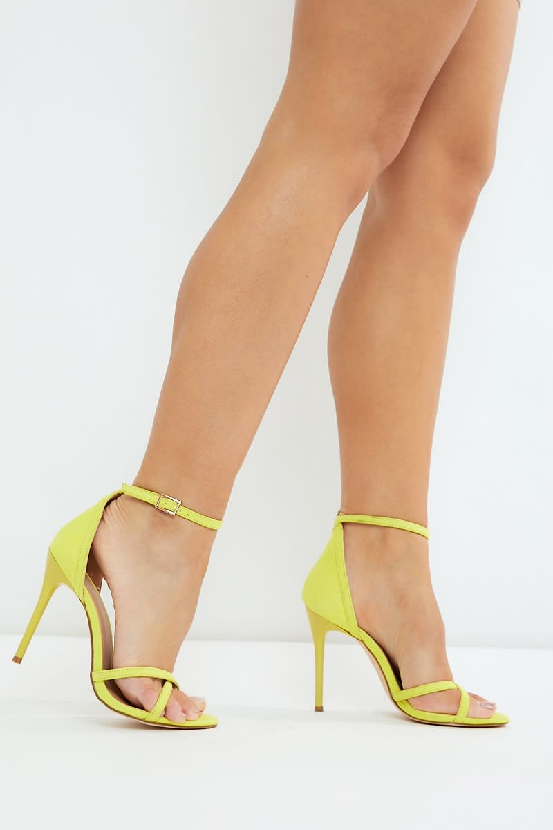 yellow faux suede barely there heels