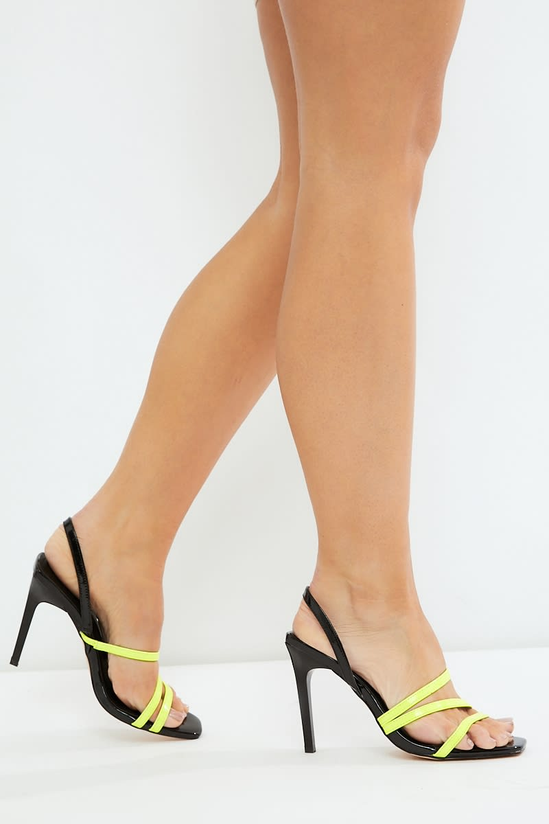 yellow square toe neon strap heels