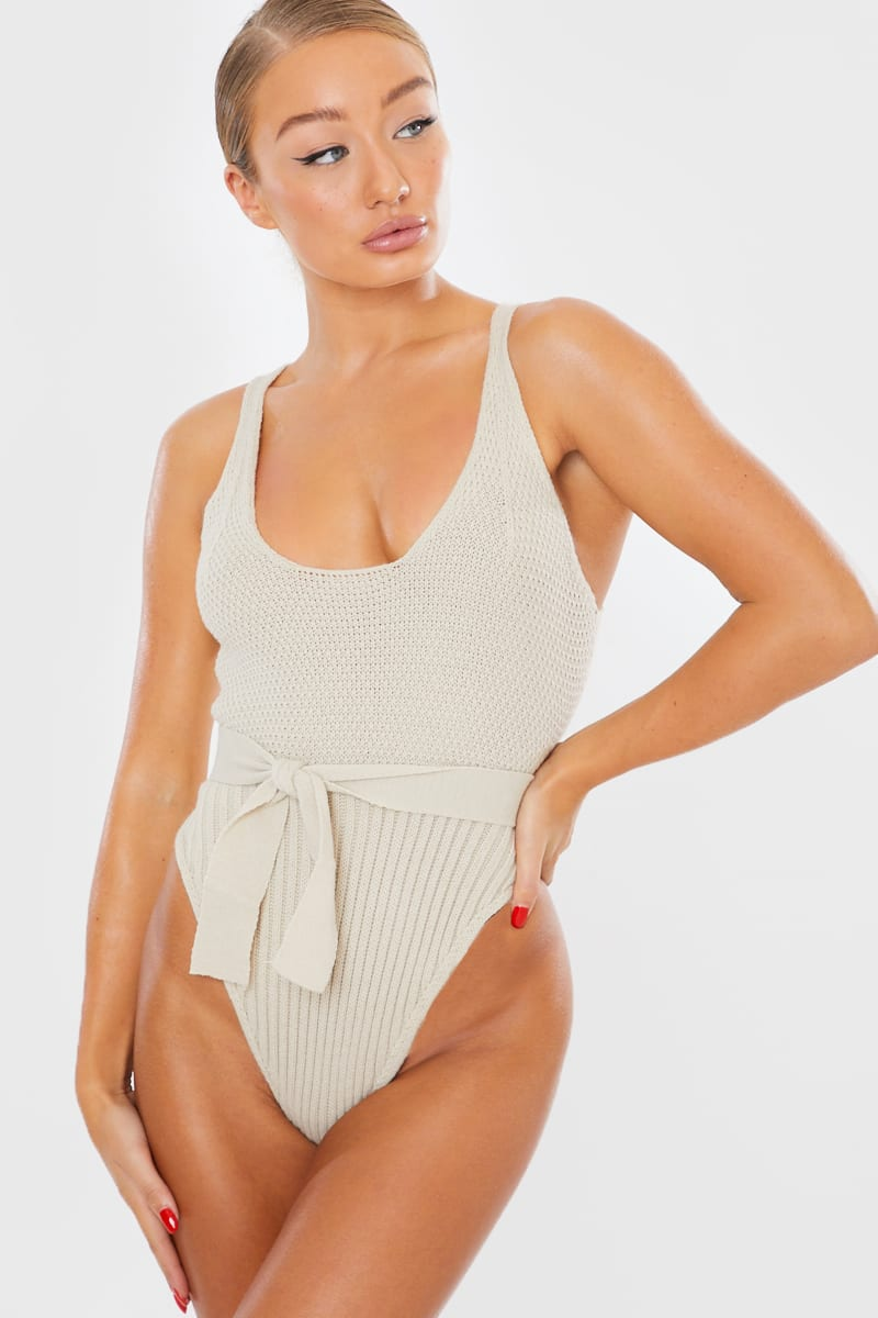 stone knitted belted bodysuit