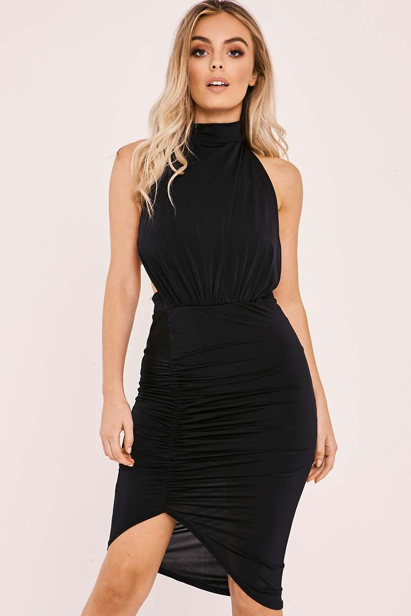 CATERINA BLACK SLINKY HALTERNECK BACKLESS RUCHED DRESS
