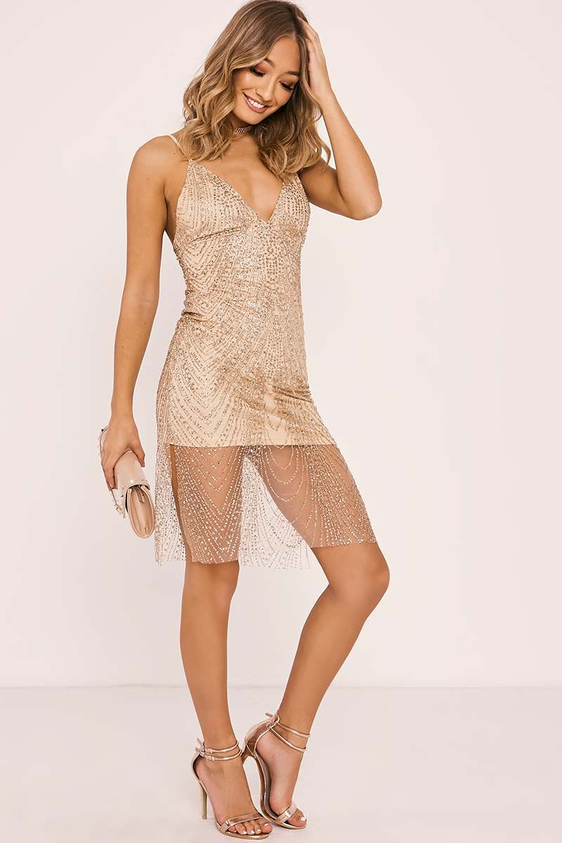 CLODAGH ROSE GOLD GLITTER MESH OVERLAY DRESS