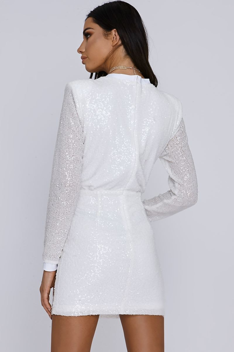 18da3870 Sarah Ashcroft White Micro Sequin Plunge Bodycon Dress | In The Style