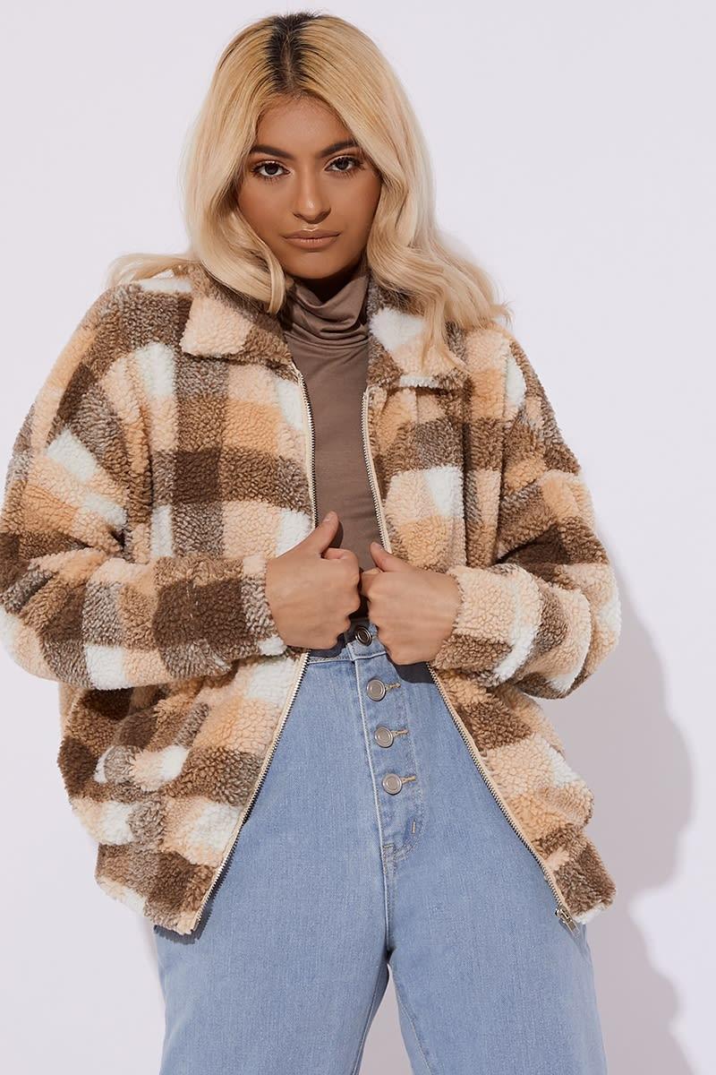 5e513e8d29 Bronte Brown Check Teddy Fur Bomber Coat | In The Style Australia
