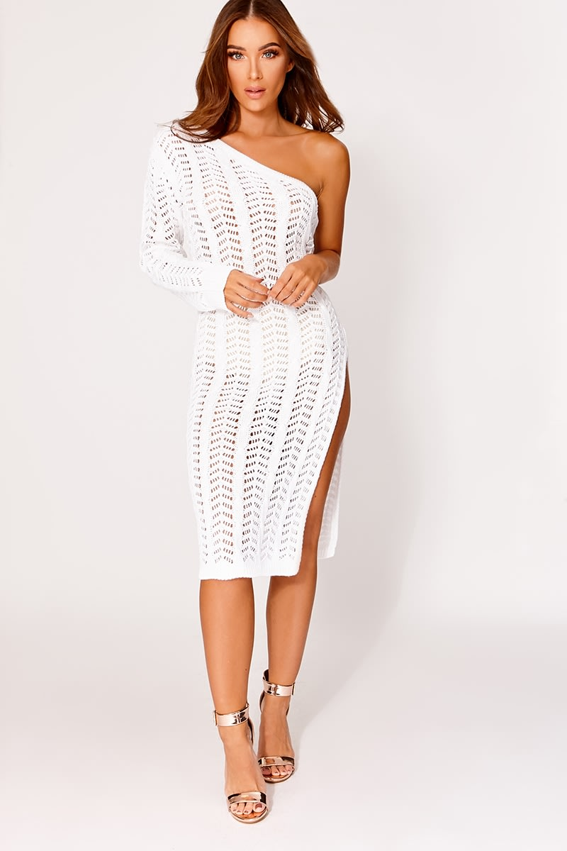 ETHELE WHITE KNITTED ONE SHOULDER MIDI DRESS