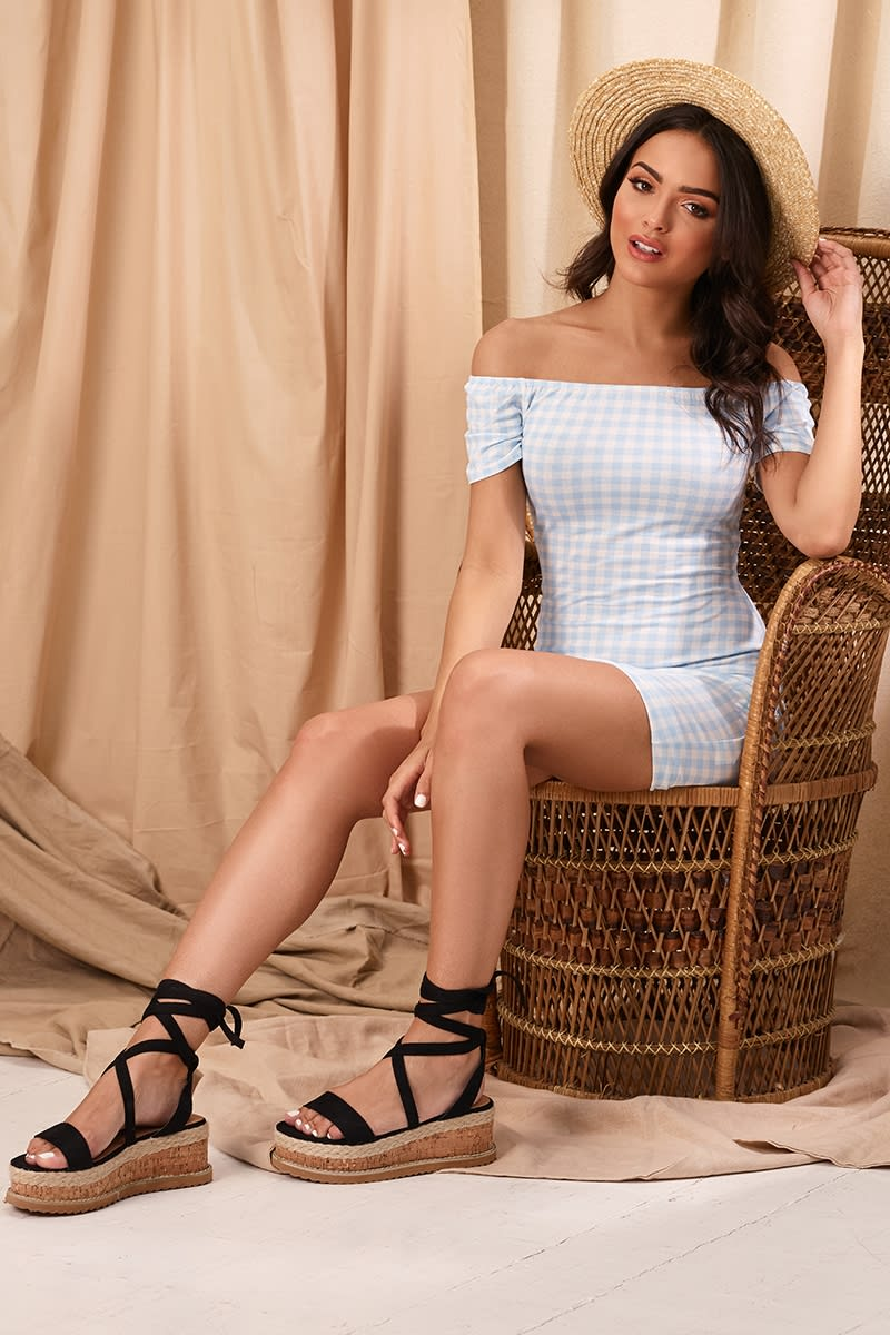 JAZELLE BLUE GINGHAM BARDOT MINI DRESS