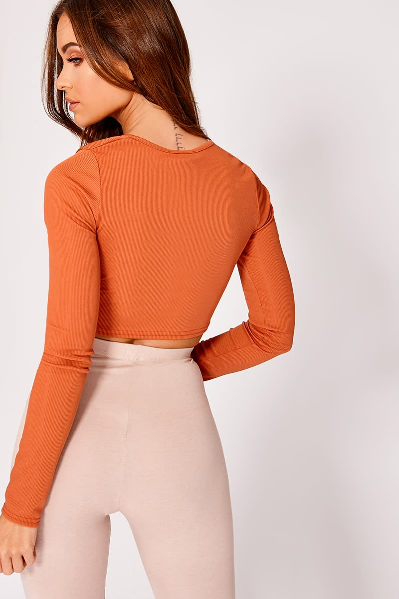 66acd72fb2d Kadi Basic Burnt Orange Ribbed Long Sleeve Crop Top | In The Style