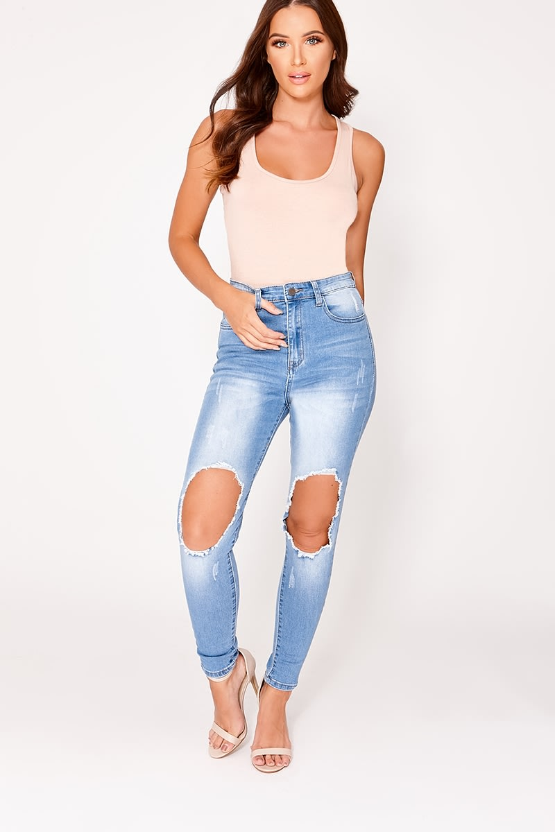 PHOEBE LIGHT BLUE BUSTED SKINNY JEANS