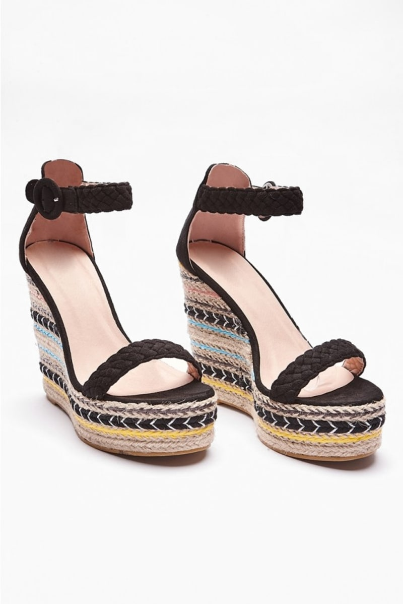 IMANIE BLACK AZTEC PATTERN WEDGES