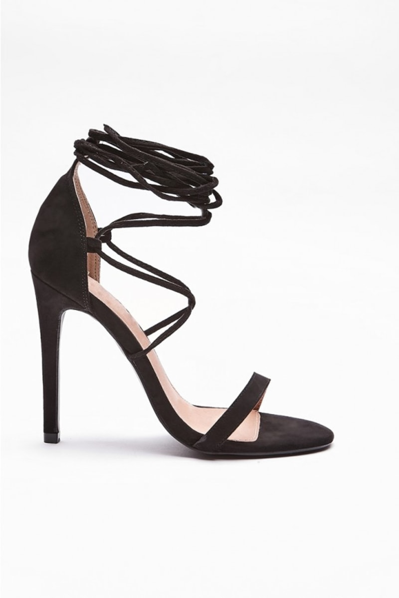 RANIAT BLACK STRAPPY BARELY THERE HEELS