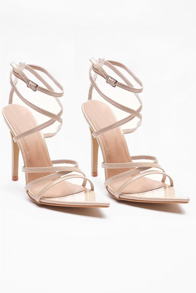 VARIA NUDE STRAPPY POINTED HEELS