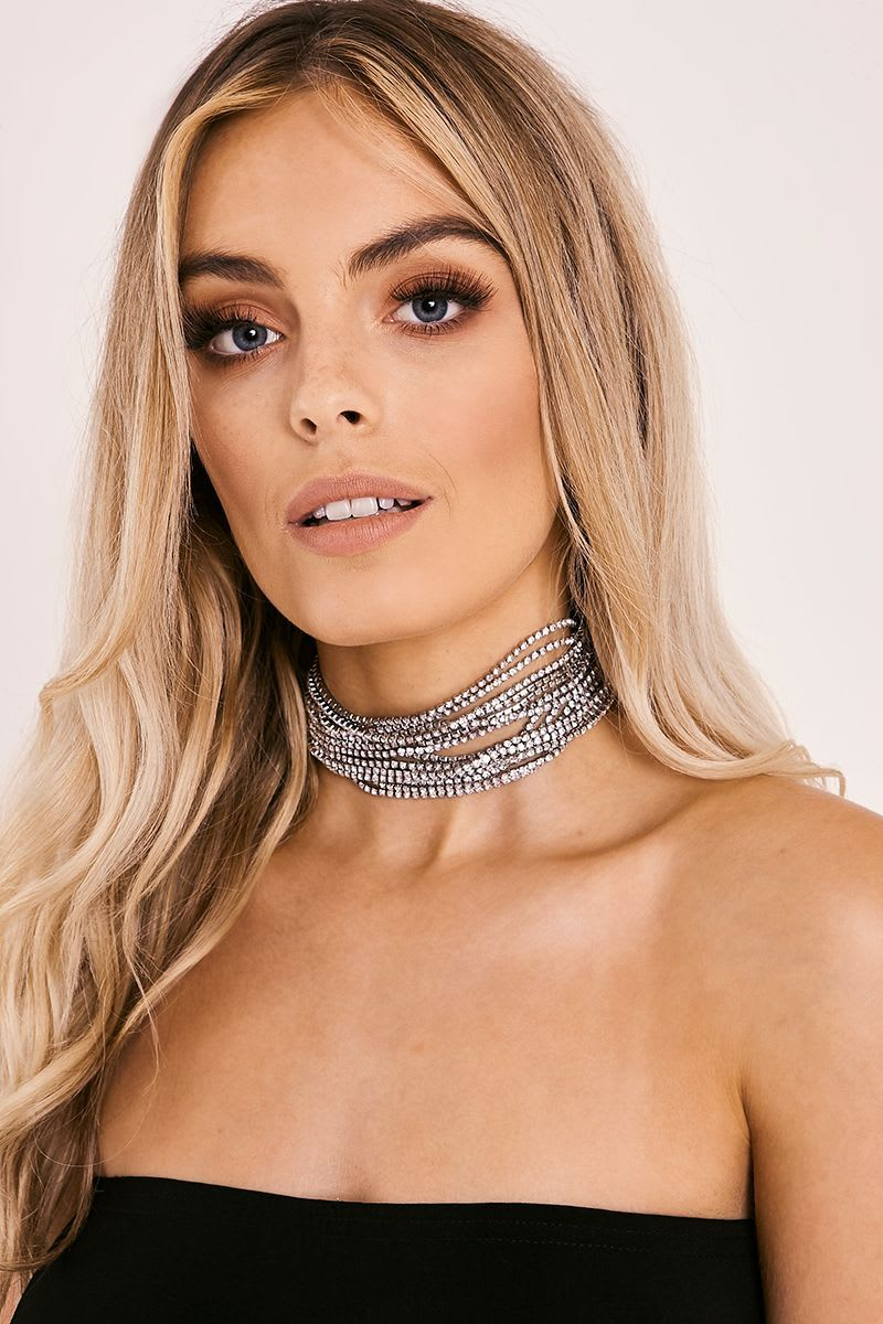 SILVER LAYERED DIAMANTE CHAIN CHOKER