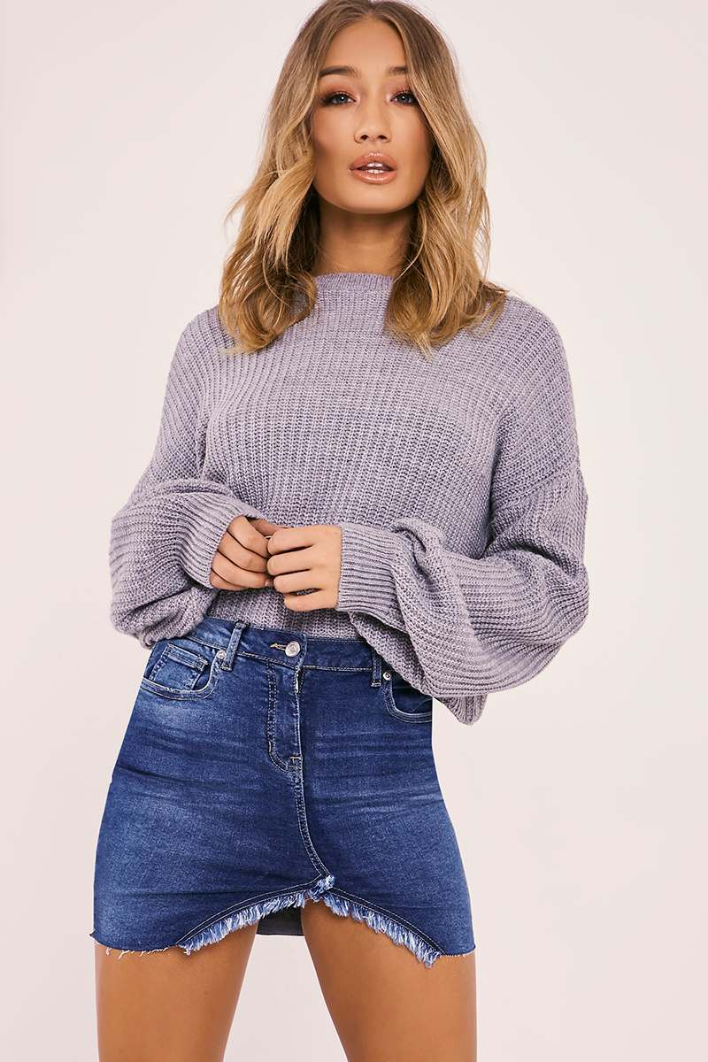 ABY MID WASH CUT AWAY FRONT DENIM MINI SKIRT