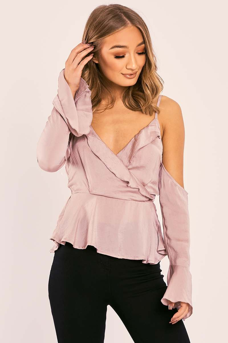 NARA MOCHA SATIN COLD SHOULDER FRILL TOP