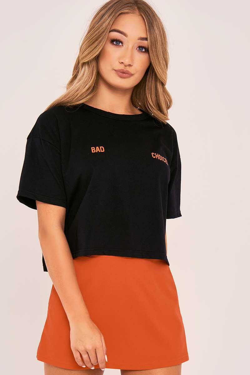CHARLOTTE CROSBY BLACK BAD CHOICES SLOGAN OVERSIZED CROPPED T SHIRT
