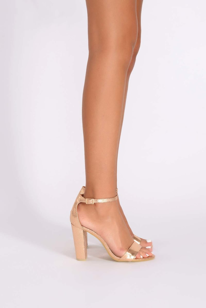 36f6480d70 Morgan Metallic Rose Gold Ankle Strap Heels | In The Style
