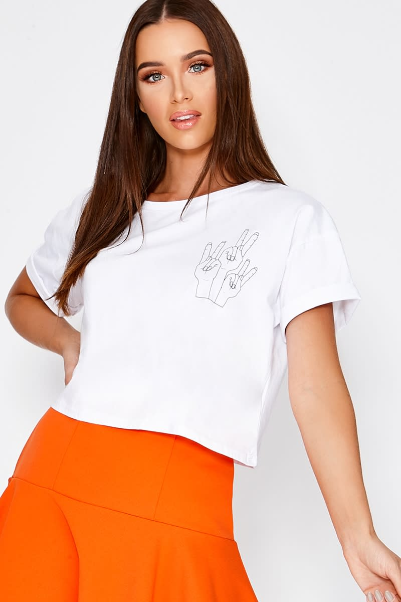 CHARLOTTE CROSBY WHITE PEACE PRINT CROPPED T SHIRT