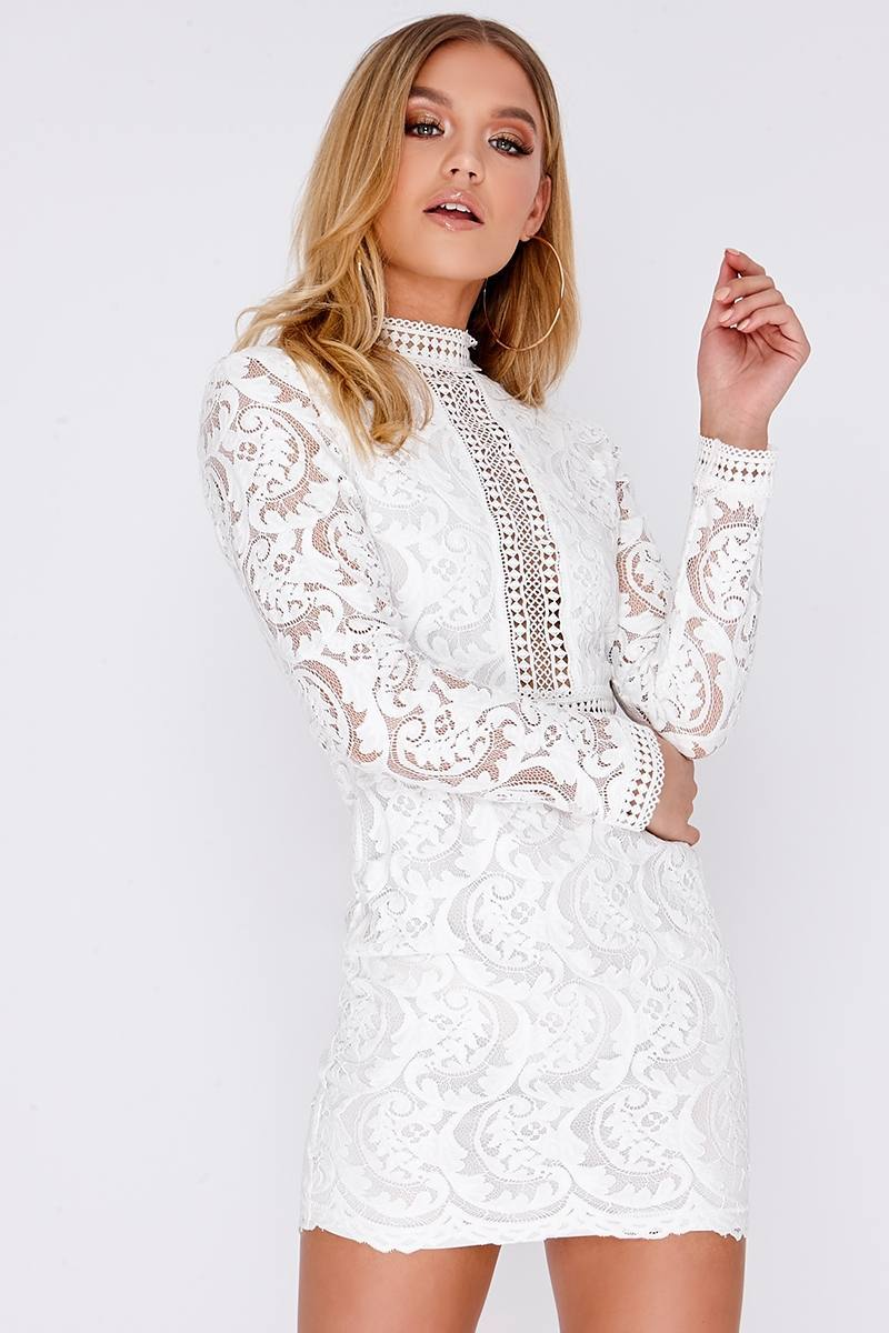 CAMELIA WHITE LACE LONG SLEEVE MINI DRESS