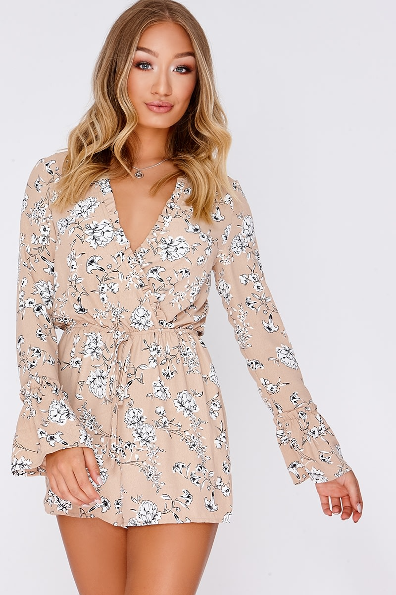 ANDIE NUDE FLORAL FRILL TRIM WRAP PLAYSUIT