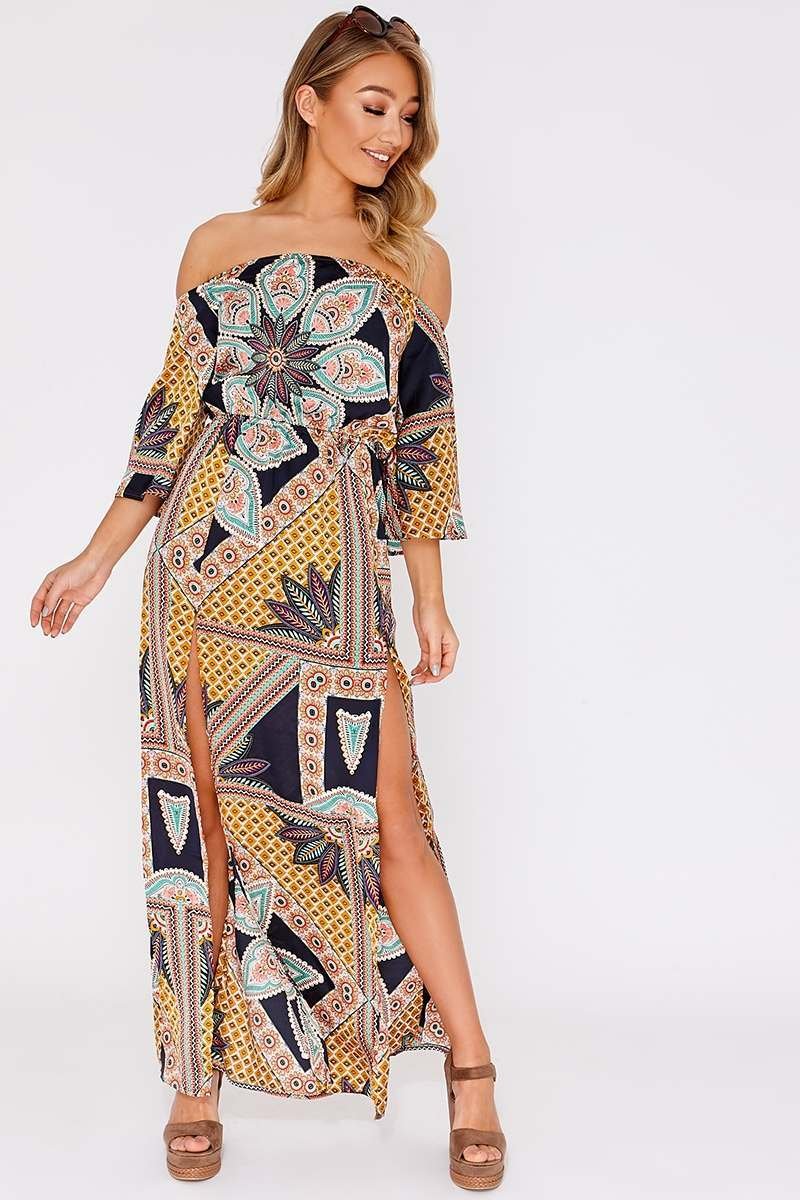 DIANEE NAVY SCARF PRINT SATIN BARDOT MAXI DRESS