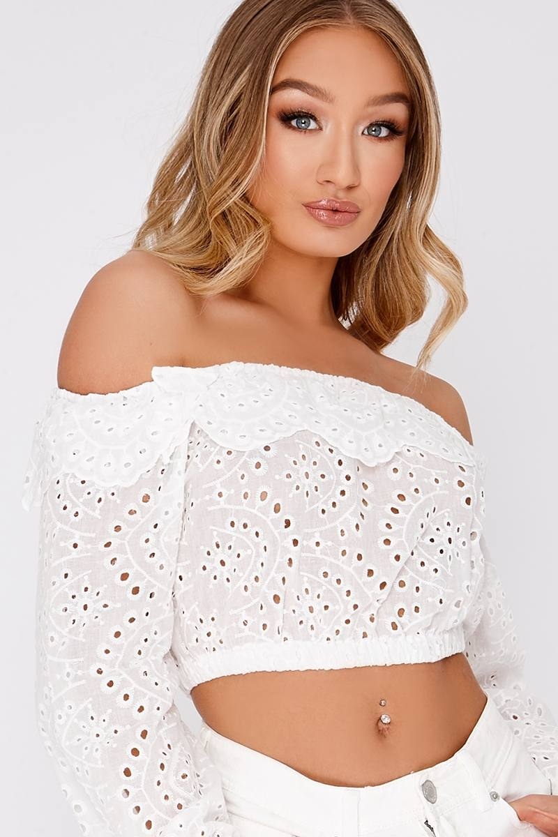 MARDEA WHITE BRODERIE ANGLAISE BARDOT FRILL CROP TOP