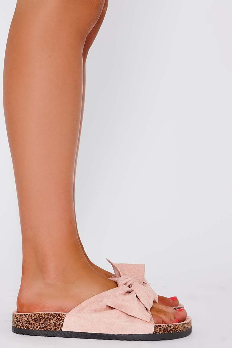 MARIELA PINK FAUX SUEDE BOW SLIDER