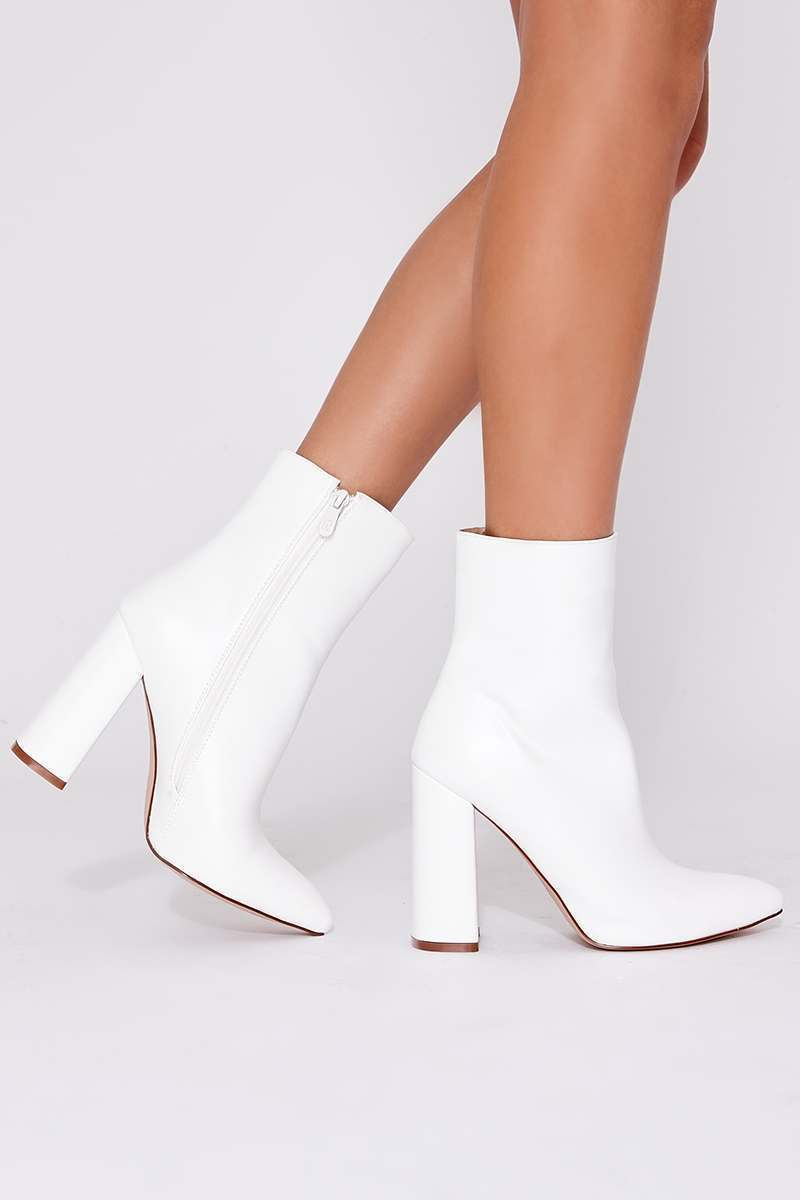 STELLA WHITE FAUX LEATHER HEELED ANKLE BOOTS