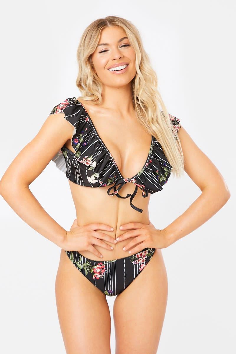 cdd330d27 Dani Dyer Black Floral Stripe Bikini Bottoms   In The Style