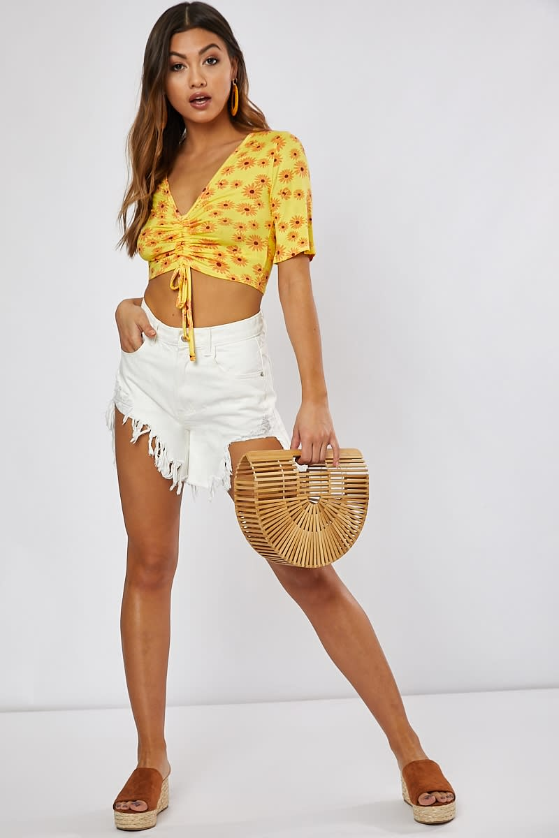 1cb68ee33fe Ikana Yellow Ditsy Floral Print Ruched Draw String Detail Crop Top ...
