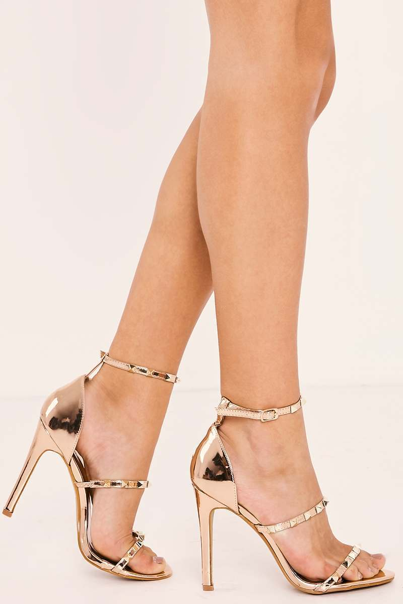 LEROLA ROSE GOLD CHROME STUDDED STRAPPY HEELS