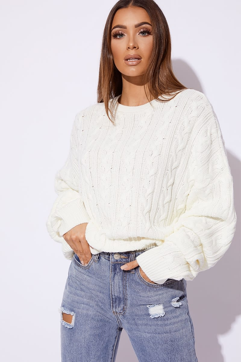 Wanista WHITE CABLE KNIT OVERSIZED JUMPER