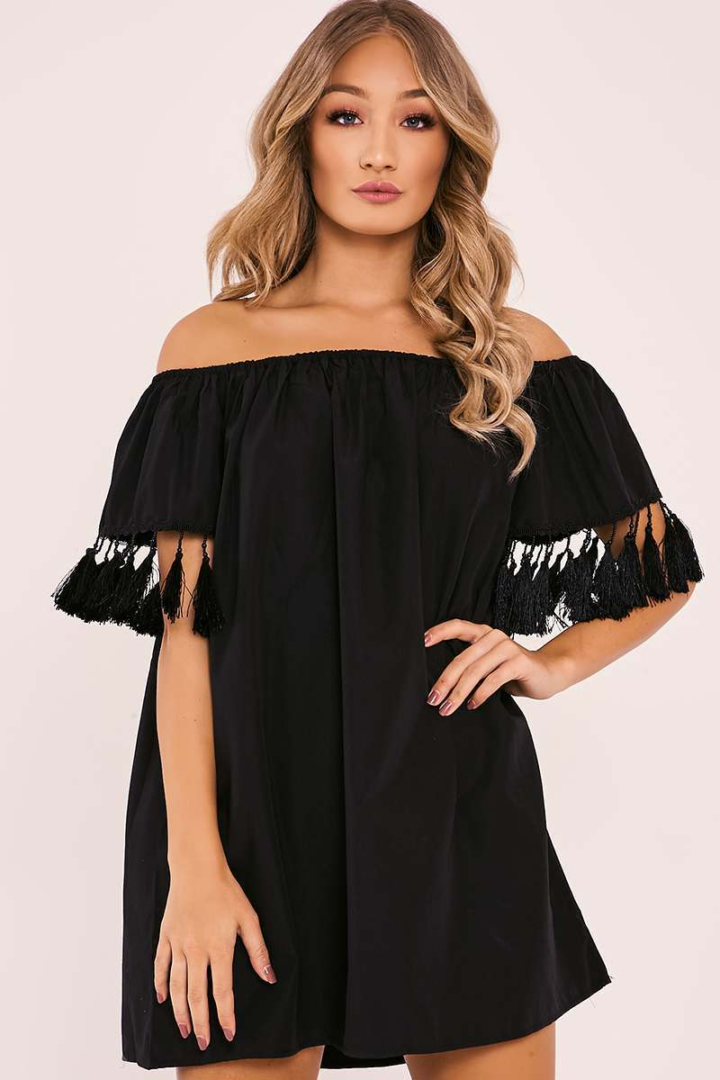 ABEA BLACK TASSLE SLEEVE BARDOT DRESS