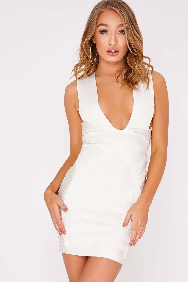 DELVINE WHITE PLUNGE BANDAGE DRESS