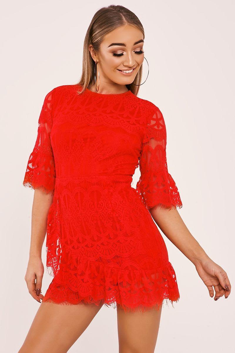 BARRA RED LACE SLEEVED FRILL HEM DRESS
