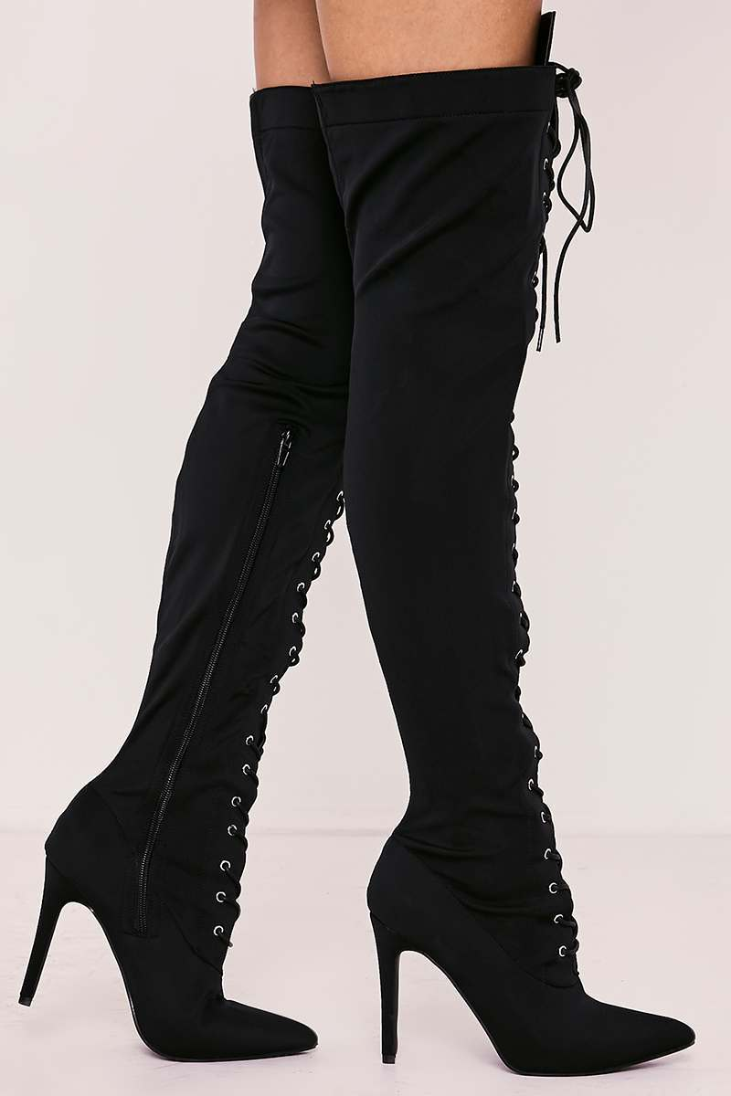 5be45bfbf5 Tyonna Black Lace Up Front Over The Knee Heeled Boots | In The Style